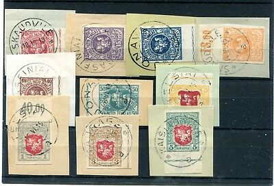 Lithuania 1919 3rd Berlin imperf set of 10 on small pieces used
