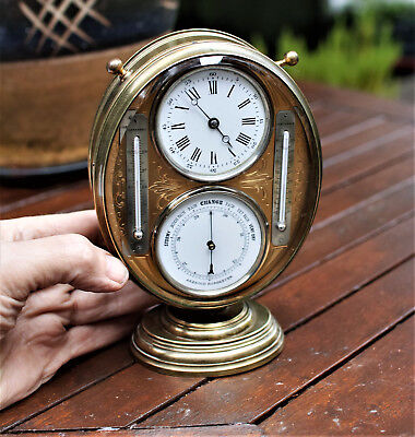 Antique Brass Clock Barometer + Thermometers Cels+ Farenheit