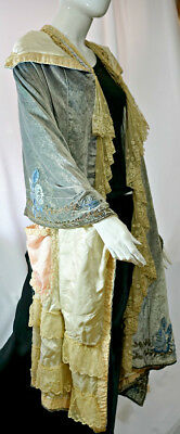 Ostentatious Antique Victorian Wedding Cape Lace Metallic embroidery