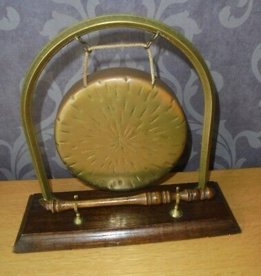 Antique Victorian Ornate Dinner Gong With Original Baton