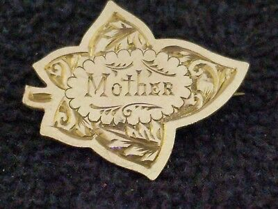 Vintage Bright cut 'MOTHER 'brooch  stamped   gold front