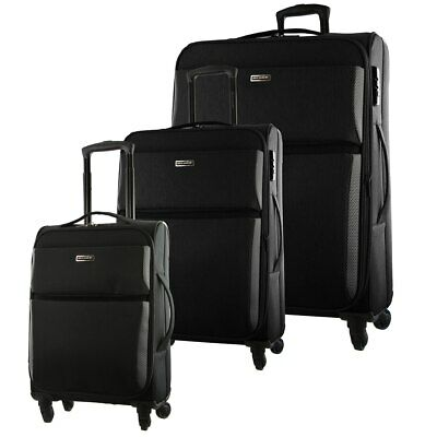 Pierre Cardin SET OF 3 Soft Luggage Travel Suitcase Black Blue Grey PC2790