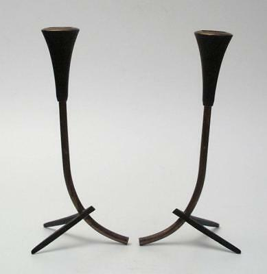 2x VINTAGE PARIS ART BRONZE CANDLESTICK HOLDERS HAGENAUER EAMES ERA MODERNIST