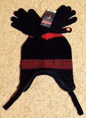 Boys Winter Hat & Touch Screen Gloves Set Red Gray Berkshire