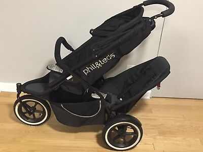 Phil & Ted'sDouble Stroller - Black, Double Kit, and Travel Bag