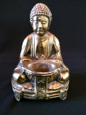 Vintage Japanese Buddha Bronze or Brass Incense Burner Great Detail Great Condit