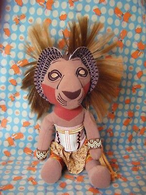 "DISNEY The Lion King Broadway Musical Simba bean bag soft toy 11"" sitting approx"