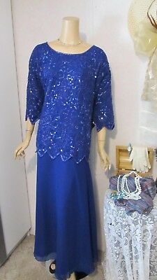 Mother Of The Bride Dress by Carina-Size 6X-Royal Blue Beaded Illusion