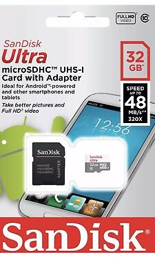 SanDisk 32GB Ultra SDHC SD Card Class 10 UHS-I Memory Card 48MB/S + Adaptor