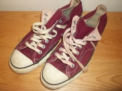 Vtg Converse Comfort Arch Burgundy Low Top Sneakers USA Made Black Label Mens 11