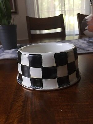 Mackenzie Childs Courtly Check Pet Bowl