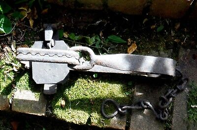 Antique Mole/rabbit Sprung Trap-With Jaw & Chain
