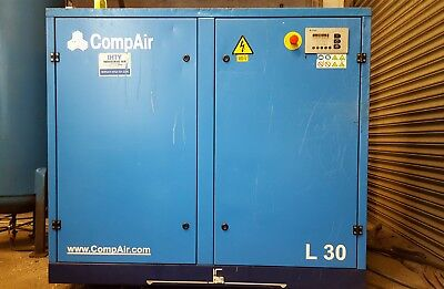 CompAir L30 Screw Air Compressor - Tank - Dryer - 40hp - 170 cfm - Only 1.6k LHR