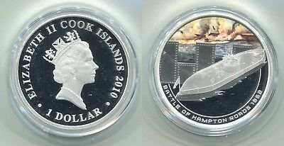 "1 Dollar Cook Islands 2010 Proof Silber ""Naval Battles"" 1 oz Silber in OVP"