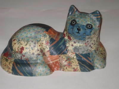 Vintage Handcrafted CAT Figurine Fabric Patch Work Heavy & Large Doorstop Decor