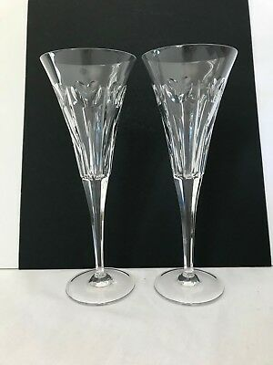 Pair of Waterford Crystal Millennium Hearts Love Champagne Flutes - old mark
