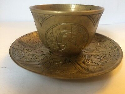 Antique Islamic Middle Eastern Bronze Cup & Saucer