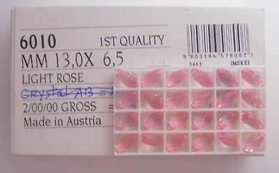 24 Swarovski Tear Drop Beads * 13X6.5Mm Light Rose * Lot O12