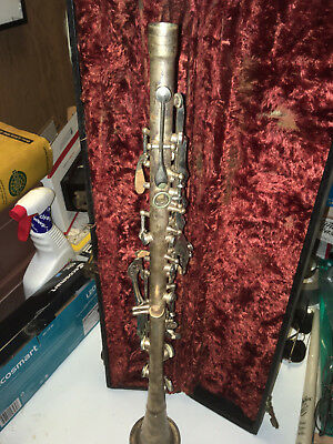 Antique  SILVERTONE Clarinet in the original case latches all work