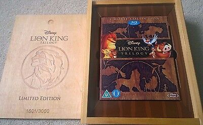 Disney's The Lion King Trilogy Rare Limited Edition Blu-ray Wooden Collector CDs