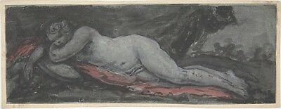 """Reclining Nude late 18th or early 19th cent-Anonymous,French,,12x8""""(A4)Poster"""