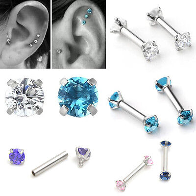 2X 16G CZ Steel Barbell Ear Tragus Cartilage Helix Stud Earrings Piercing