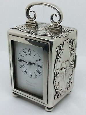 Stunning 1901 William Comyns Solid silver Reynolds Angels Carriage Clock