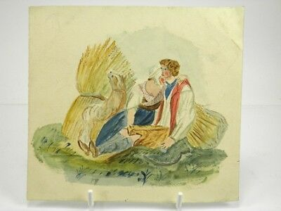 Antique late 19th century English School watercolour painting figures & dog