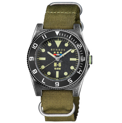 New Mens Benrus H-6 Military Tested Limited Extra Long Olive Nylon Strap Watch