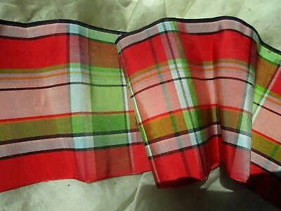 Antique Plaid Stripe Fine Crisp Silk Taffeta Ribbon Sample Trim Orig Tag
