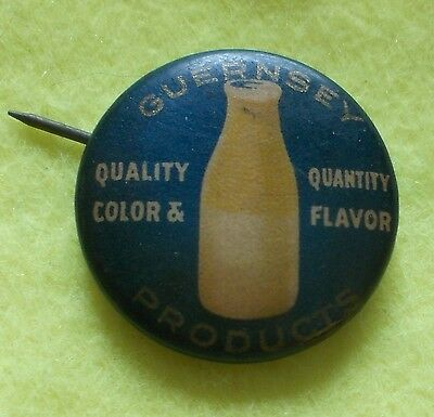 """Celluloid Pinback button 3/4"""" Guernsey Products Milk Bottle Rochester NY Novelty"""