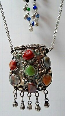 Vintage Ethnic Tribal Amulet Pouch Prayer Box Medicine Box Pendant Necklace Boho