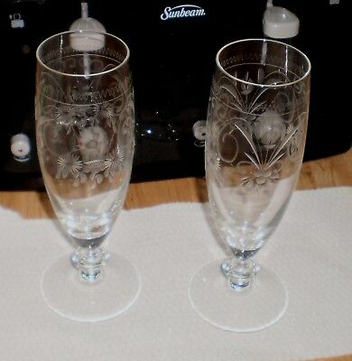 Vintage Theresienthal Crystal Cut Design Glasses champagne ?? 2X