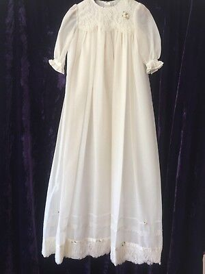 Vintage New Baby Christening Long Dress Gown Cream Cotton Silk Lace Baby Doll