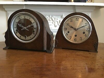 Two Vintage Westminster Chime Mantel Clocks. One Guta Movement. One British Made