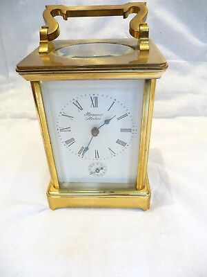 French Large Gong Striking Carriage Clock + Alarm Good Condition/Working Order