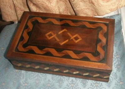 Old Antique Georgian Parquetry Inlaid Wooden Box c.1820 Work Box Sewing Rare