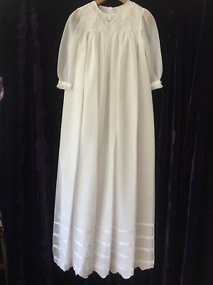 Vintage New Baby Christening Long Dress Gown White Voile Silk Lace Baby Doll