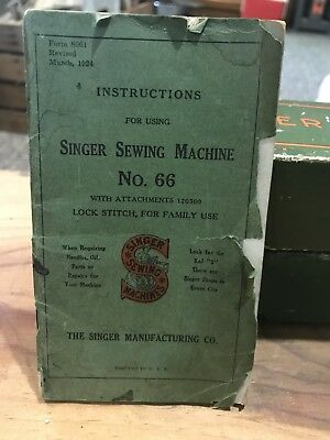Singer Sewing Machine Insructions No. 66 March 1924