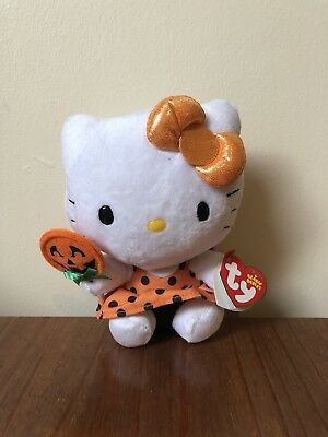 "Ty Beanies Hello Kitty Pumpkin Lollipop 6"" Soft Toy (with Tags)"