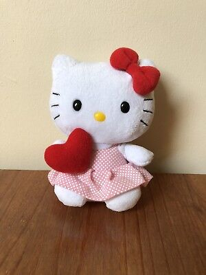 "Ty Beanies Hello Kitty Red Heart (2010 Edition) 6"" Soft Toy (no Tags)"