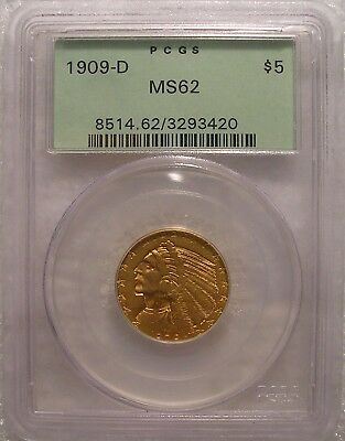 1909-D GOLD Indian Head Half Eagle $5 Coin PCGS  MS 62 03293420 in OGH