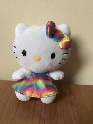 "Ty Beanies Hello Kitty Rainbow Dress 6"" Soft Toy (no Tags)"