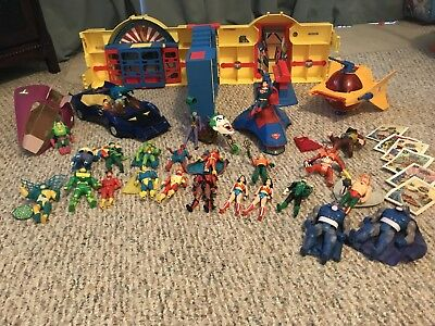 Vintage Justice League lot, Hall of Justice, 25 figures, Bat mobile, AND MORE!