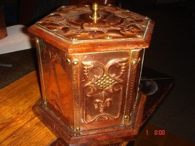 Arts and Crafts 6 panel copper / brass wooden barrel. Possible Newlyn?