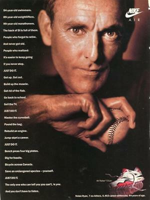 Vtg Print Ad For Nike Air Trainer E Low Featuring Pitcher Nolan Ryan -Just Do It