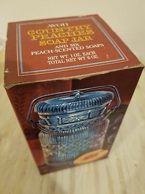 Vintage Avon Country Peaches Soap Jar Blue Six Peach Scented Yellow Soaps