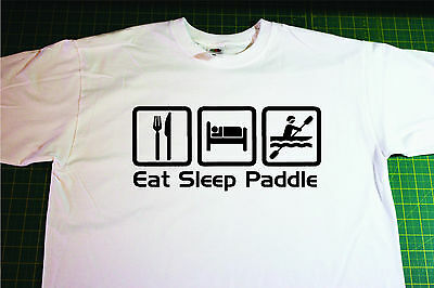 EAT SLEEP KAYAK IRON ON T SHIRT TRANSFER LARGE A4 SIZE
