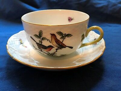 HEREND HUNGARY ROTHSCHILD Tea Cup & Saucer (M9) 1930s Mark