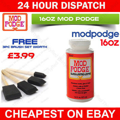 16oz MOD PODGE GLOSS FINISH GLUE SEALER FOR DECOUPAGE MODELLING CRAFT NON TOXIC